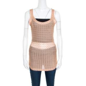 Missoni Pink Embroidered Perforated Knit Sleeveless Top S