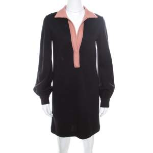 Missoni Black Contrast Collar Detail Long Sleeve Wool Dress S