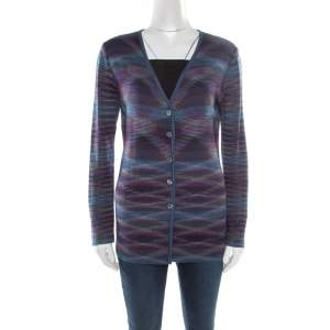 Missoni Purple Marled Wool Blend Button Front Cardigan M
