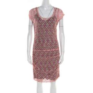 Missoni Multicolor Perforated Knit Ruched Sleeveless Dress M