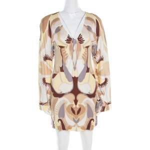Missoni Multicolor Printed Jersey Plunge Neck Long Sleeve Dress S