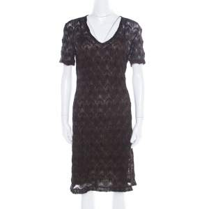 Missoni Black Lurex Patterned Knit V Neck Midi Dress M