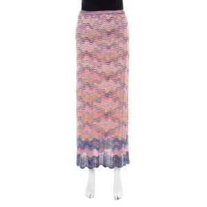 Missoni Multicolor Perforated Knit Wave Pattern Maxi Skirt M