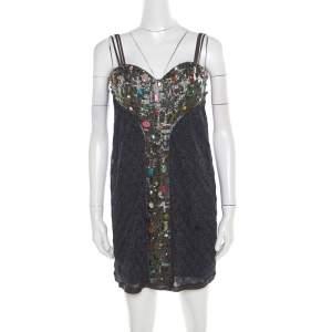 Missoni Multicolor Lurex Knit Embellished Bodice Sleeveless Dress S