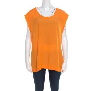 Missoni Saffron Orange Sheer Back Panel Sleeveless Top L