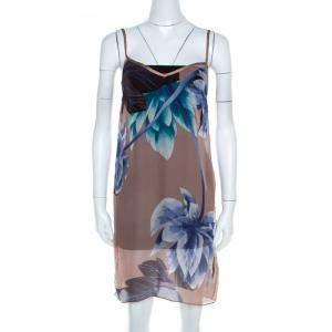 Missoni Multicolor Floral Printed Sheer Silk Slip Dress S