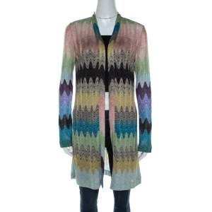 Missoni Multicolor Lurex Knit Open Front Cardigan S