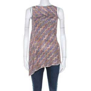 Missoni Multicolor Geometric Patterned Knit Asymmetric Sleeveless Top M