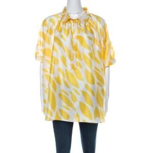 Missoni Yellow & White Printed Silk Collared Short Sleeve Oversized Blouse S