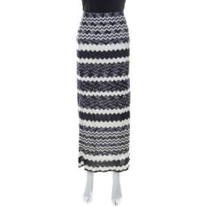 Missoni Bicolor Chevron Crochet Knit Maxi Skirt L