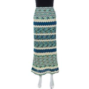 M Missoni Multicolor Chevron Pattern Crochet Knit Maxi Skirt M