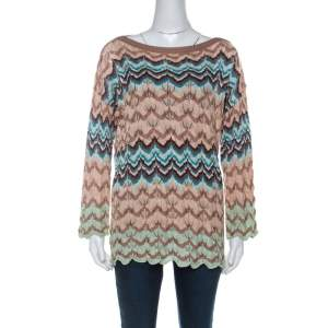 Missoni Beige Crochet Knit Flared Sleeve Top L