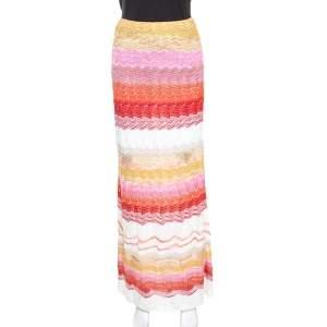 Missoni Multicolor Chevron Pattern Metallic Crochet Knit Maxi Skirt M