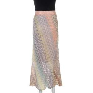 Missoni Pastel Multicolour Crochet Knit Midi Skirt M