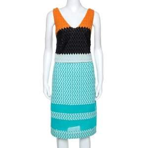 Missoni Blue Crochet Knit Sleeveless Dress M