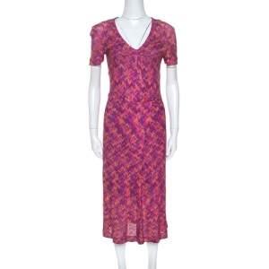 Missoni Multicolor Chevron Knit Vintage Wrap Dress M