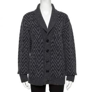 Missoni Grey Chevron Knit Wool Shawl Collar Cardigan L