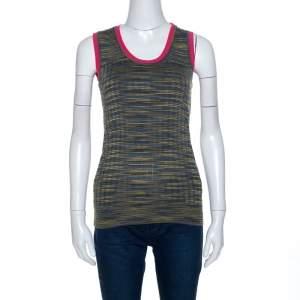 M Missoni Green Knit Contrast Trim Sleeveless Tank Top M