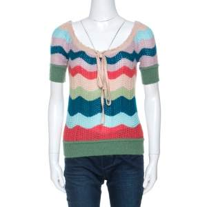 Missoni Multicolor Striped Wool Short Sleeve Top S