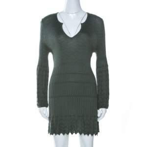 M Missoni Sage Green Chevron Knit Wool Mini Dress L