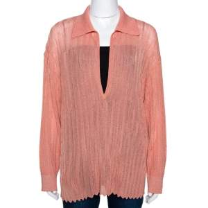 Missoni Coral Lurex Knit Plunge V Neck Top M