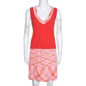 Missoni Orange Cotton Knit Sleeveless Mini Dress L
