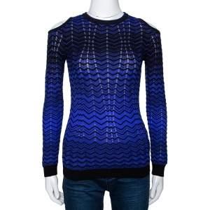 M Missoni Purple Pointelle Knit Cold Shoulder Long Sleeve Top S