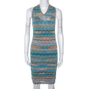 Missoni Teal & Sandy Beige Knit Twisted Back Detail Mini Dress S