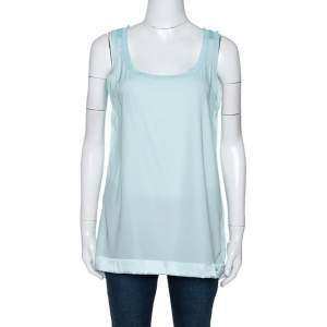 Missoni Pastel Blue Silk & Knit Sleeveless Scoop Neck Top M