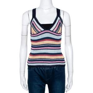 Missoni Multicolor Striped Rib Knit V Neck Tank Top M