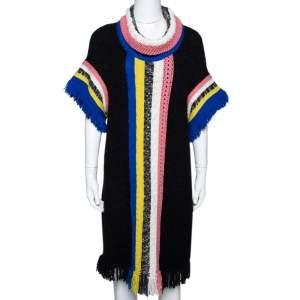 Missoni Black Paneled Wool Blend Fringed Turtle Neck Dress S