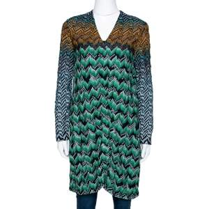 Missoni Multicolor Zig Zag Lurex Knit Button Front Cardigan M