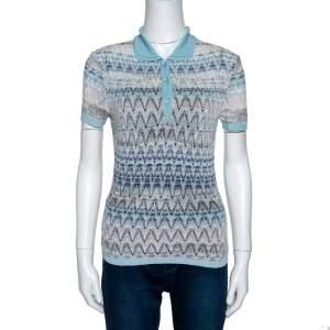 Missoni Light Blue Crochet Knit Short Sleeve Collared Top S
