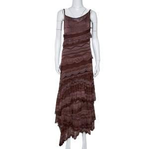 Missoni Brown Lurex Knit Tiered Sleeveless Dress M