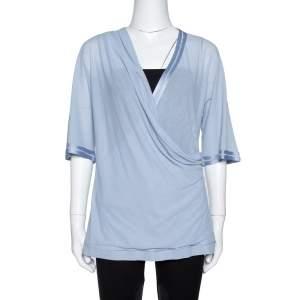 Missoni Blue Knit Crossover Draped Three Quarter Sleeve Top S