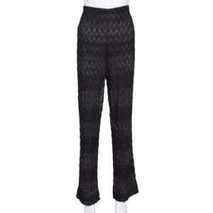 Missoni Black Textured Lurex Knit Wide Leg Pants L