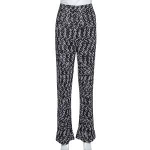 Missoni Monochrome Textured Lurex Knit Wide Leg Pants L