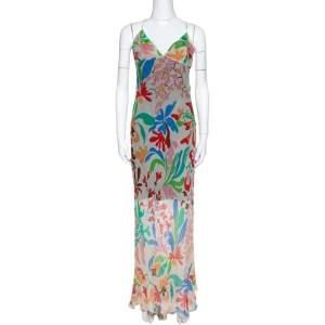 Missoni Cream Floral Print Crepe Sheer Maxi Dress M