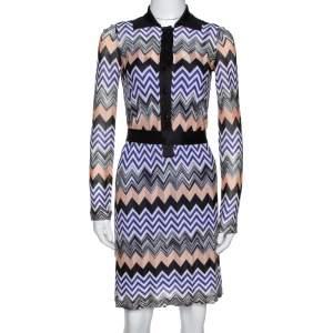 Missoni Purple & Peach Chevron Knit Belted Collared Dress S