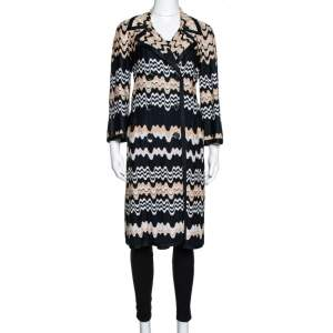 Missoni Two Tone Wavy Knit Double Breasted Coat M
