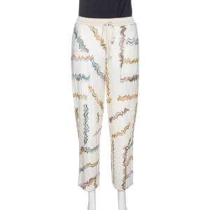 Missoni Cream Zig Zag Knit Straight Leg Trousers M