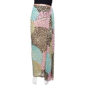 Missoni Multicolor Lurex Knit Draped Maxi Skirt M