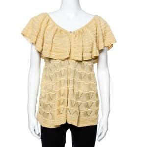 M Missoni Beige Patterned Knit Ruffled Overlay Top M