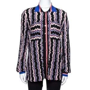 Missoni Black Striped Knit Button Front Polo Shirt M