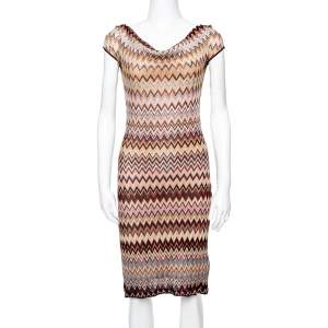 Missoni Multicolored Lurex Chevron Knit Fitted Dress M
