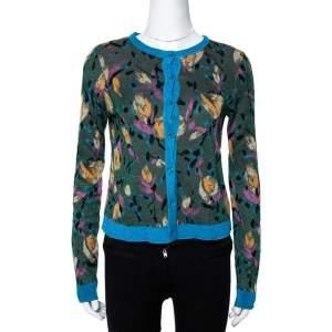Missoni Green Metallic Floral Jacquard Knit Button Front Cardigan S