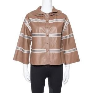 Missoni Brown Striped Leather Detachable Collar Detail Jacket M
