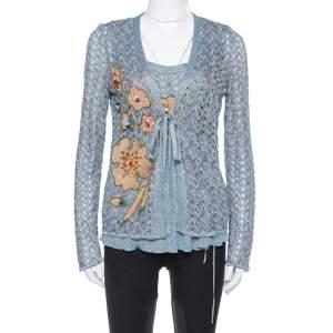 Missoni Grey Lurex Knit Crystal Embellished Top and Cardigan Set L