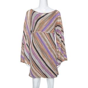 M Missoni Multicolor Perforated Knit Long Sleeve Dress M