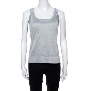 Missoni Shimmery Silver Lurex Knit Tank Top L